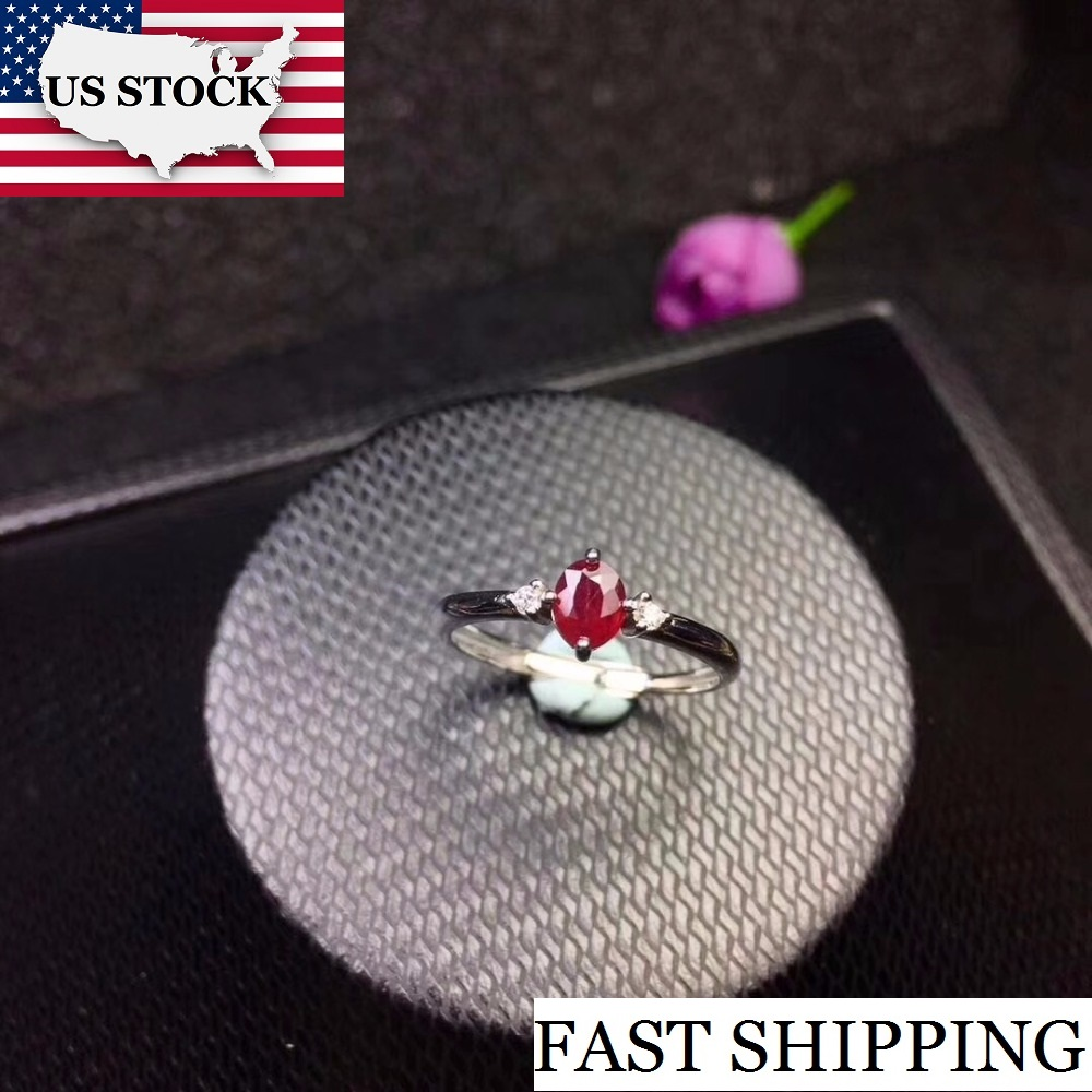 US STOCK Uloveido Ruby Ring for Wedding 925 Sterling Silver 4 5mm Certified Oval Gemstone Engagement