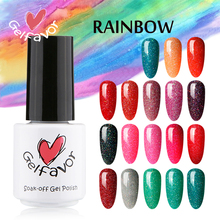 Gelfavor 7ml Nail Gel Soak-Off  Led Gel Lamp Rainbow Series Neon UV LED Polish Nail Nail Art Gel Primer Manicure & Pigment Nail