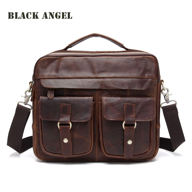 Top Hot Sale Zipper men briefcase 100% Guaranteed Real Genuine Leather Shoulder Messenger bags for Men vintage Wholesale top 2017 hot sale 100