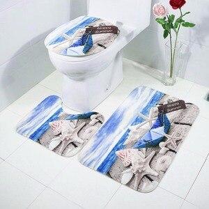 Image 3 - Conjunto de 3 alfombrillas antideslizantes de franela para baño, alfombra lavable, para cocina y baño