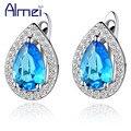 Almei Sterling Silver Stud Earrings Purple oorbellen Jewelry Crystal Women Earring Blue Stones Cubic Zircon Bijoux Brincos R446
