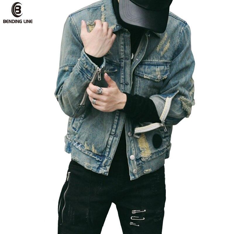 Bending line Jeans Jacket Men 2018 New Fashion Hi Street Mens Ripped Denim Jackets Multi Zippers Streetwear Jeans Jacket US Size
