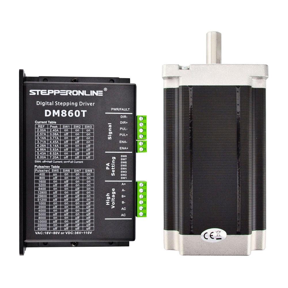 цена на 1 Axis Stepper CNC Kit High Torque 13.0Nm(1841oz.in) Nema 34 Stepper Motor 86x86x150mm & Driver 18-80VAC or 36-110VDC