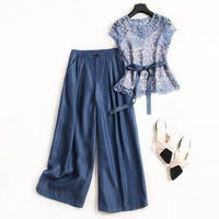 Women elegant hollow out lace tops and blouse + denim jeans wide leg pant suit two piece set outfits new 2019 spring cocochoose