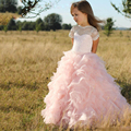 ZF62 Pink Princess Flower Girl Dresses for WeddingS 2017 Long First Communion Dress for Girls Pageant Prom Gown for Children