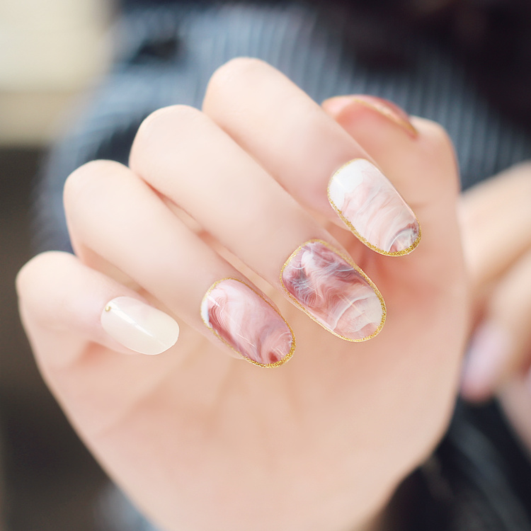 24Pcs Fashion Fake Nails Unique Pink Nails Marble Gold Warp ...