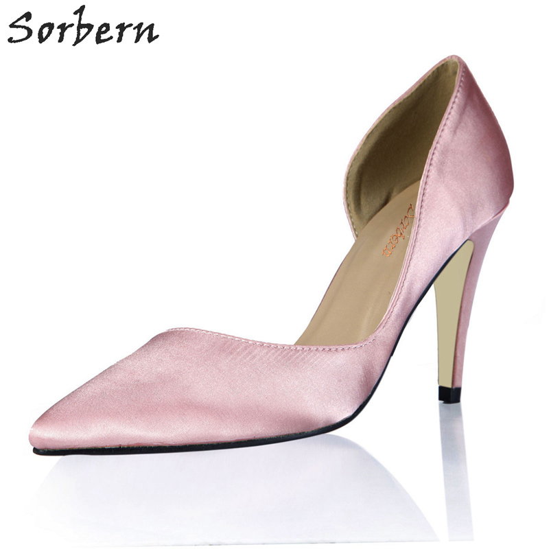 Sorbern Light Pink Silk Wedding Shoes Elegant Pointed Toe D'Orsay Pumps Elegant High Heel Stilettos Shoes Big Shoes Woman sequined high heel stilettos wedding bridal pumps shoes womens pointed toe 12cm high heel slip on sequins wedding shoes pumps