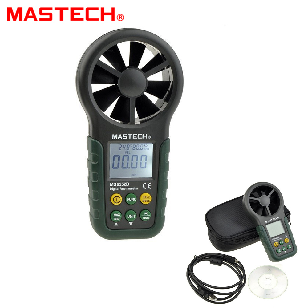 MasTech MS6252B Digital Anemometer 9999 counts T &Rh Sensor Air Wind Speed Velocity Meter USB Interface peakmeter ms6252b digital anemometer air speed velocity air flow meter with air temperature humidity rh usb port
