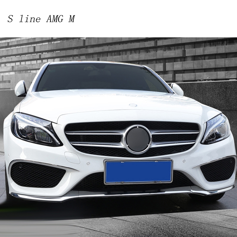 For Mercedes Benz C Class W205 Car styling Front fog lamps cover grille slats lights Sticker decoration strips auto Accessories car front fog lamps cover grille slats car fog lights cover decoration strips car styling for mercedes benz e class w213 2016