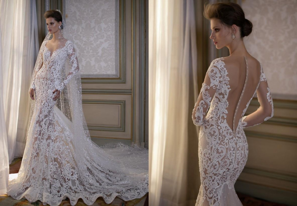 Mermaid Wedding Gowns With Sleeves: 2016 Vestido De Novia V Neck Mermaid Wedding Dress Lace
