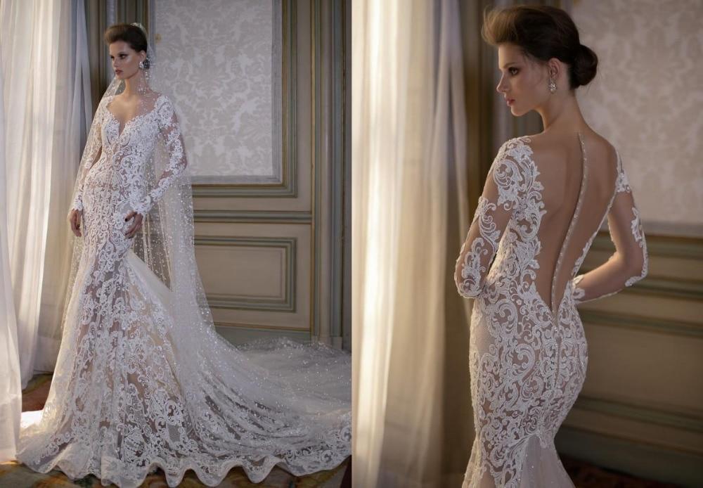 2016 Vestido De Novia V Neck Mermaid Wedding Dress Lace