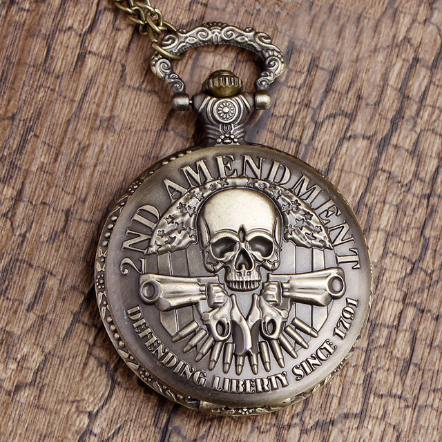 AMENDMENT MILITARY SKULL POCKET WATCH