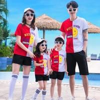 Summer Family Sets Family Matching Outfits Dad Mom Daughter Son Short Sleeve T Shirt+Short Pants 2PCS Vacation Cartoon Clothes