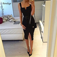 In Stock 2018 Black Sleeveless Spaghetti Strap Dress Backless Split Clubwear Party Strapless Midi Sexy Bandage Women Dresses