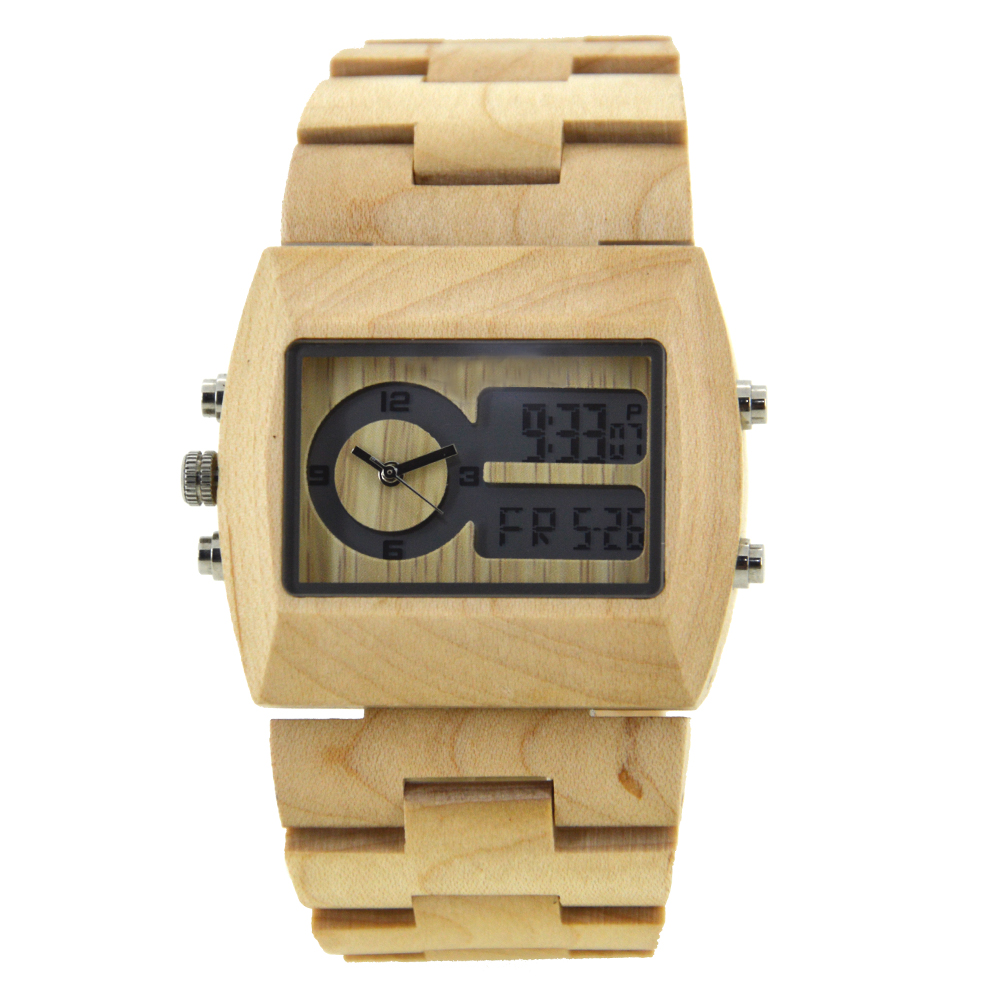BEWELL 2018 Original Wood Watch for Men Dual Display Rectangle Dial Wristwatch Handmade Wooden Bracelet Dropshipping W021A bewell multifunctional wooden watches men dual time zone digital wristwatch led rectangle dial alarm clock with watch box 021a