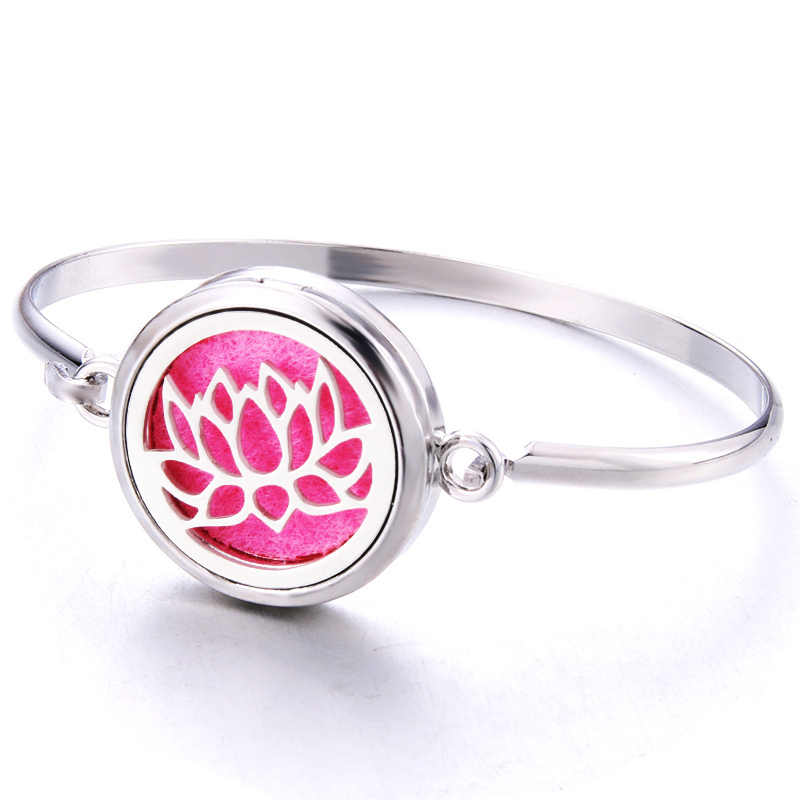 Fine Lotus Magnetic Stainless Steel Perfume Aroma Diffuser Bracelet Jewelry Essential Oil Diffuser Locket Silver Bracelet 316L