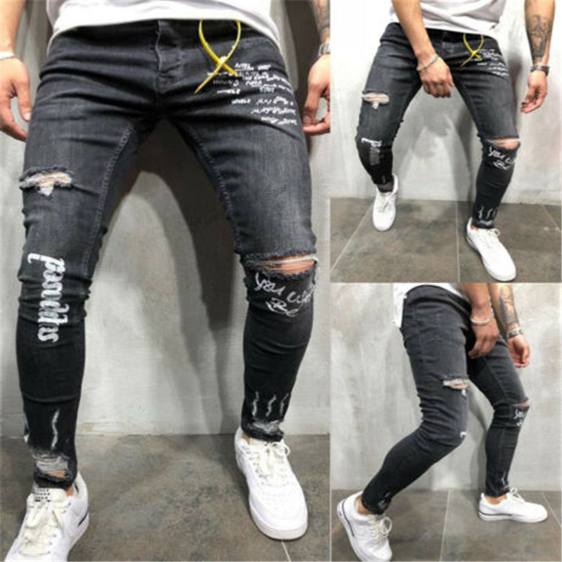 Men Hip Hop Ripped Jeans Skinny Biker Embroidery Jeans Destroyed Hole Denim Trousers 2019 Men High Quality Jeans Pants