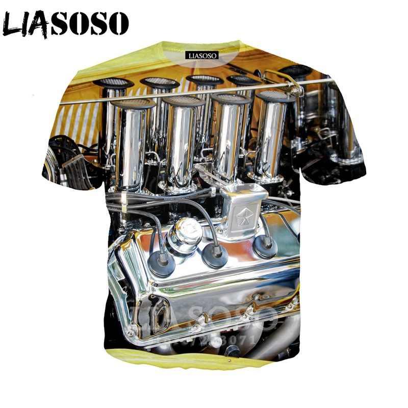 LIASOSO été nouveau mode hommes femmes sweat 3D imprimé moteur t-shirt à manches courtes col rond haut Harajuku drôle pull A242