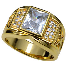 Мужчины кольцо голдфилд ясно кубический цирконий Размеры 8-15 r206