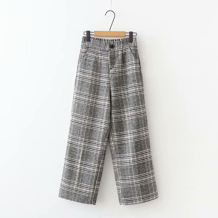 Korean Autumn Winter Pants Elastic Waist Plaid Wide Leg High Pants Pantalon Ladies Streetwear Loose Female Women Bottoms B8D405 2