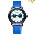 2016 nueva marca de fábrica de eyki relojes de los hombres reloj de pulsera de reloj del negocio de la pu correa de cuero militar estilo reloj de cuarzo relogio masculino
