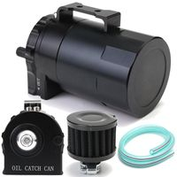 New 1Set Aluminum Cylinder Engine Oil Catch Can Tank Reservoir Breather Filter with Accessories Car Styling