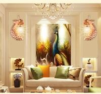 Bedroom Sconce Bedside Crystal Wall Lamp Creative Restaurant Peacock Light Aisle Light Corridor Living Room Background Wall Lamp