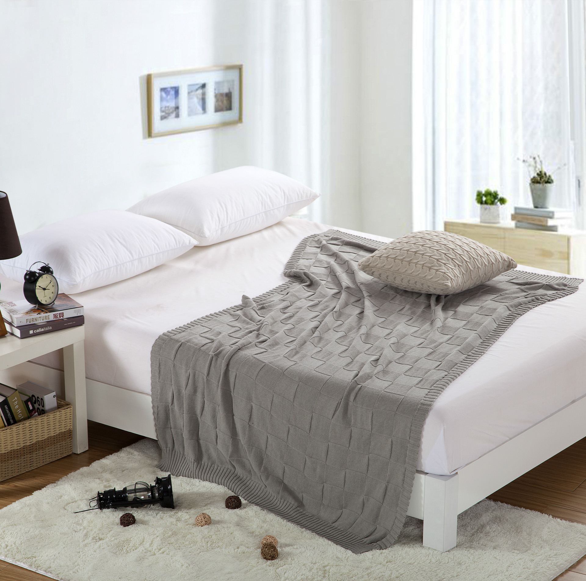 100% Cotton Plaid Bedspread Explosion White Grey Knitted Throw ...