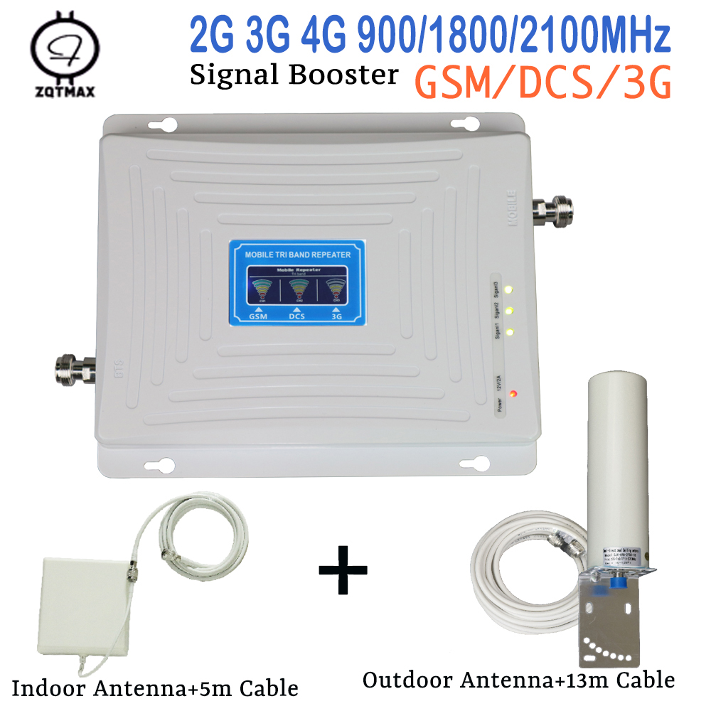 ZQTMAX 2G 3G 4G Mobile Signal Booster LTE UMTS Celular Signal Amplifier Tri Band 900 1800 2100 With Omni Antenna Cable Set
