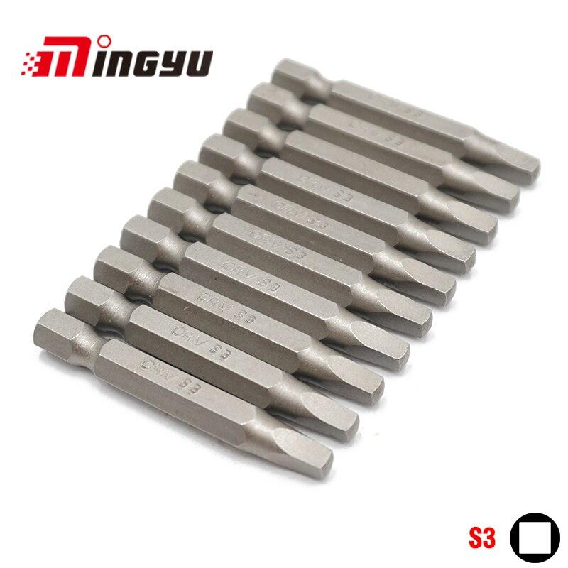 10 Pcs S3 Screwdriver Bit Set 50mm 1/4 Inch Hex Shank Chrome Vanadium Steel Square Head Bit Set Hand Tools Electric Drive Bits