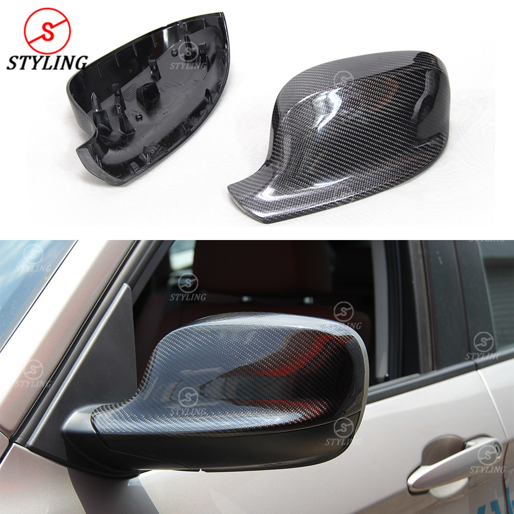 For BMW X1 E84 X3 F25 carbon fiber rear side view caps mirror cover X1 E84 & X3 F25 replacement&add on style 2010 2011 2012 2013 2pcs chrome abs rear back window wiper cover trims for bmw x3 f25 2011 2015 car styling accessories