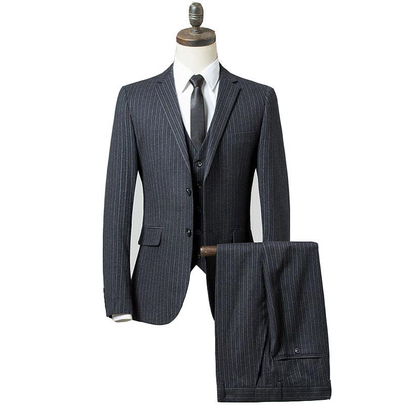 2019 New Stripe Suit Men Formal Three Piece Suits Men Slim Fit Groomsmen Men Wedding Suits Completo Uomo (Jacket+Pants)