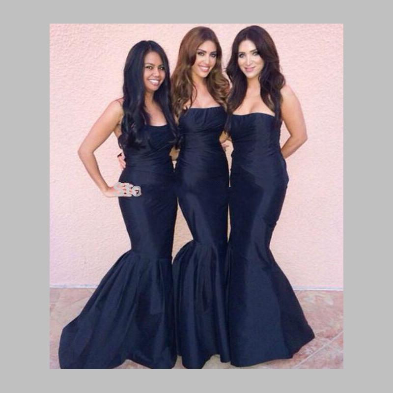 Strapless Navy Blue Bridesmaid Dresses - Wedding Dress Ideas