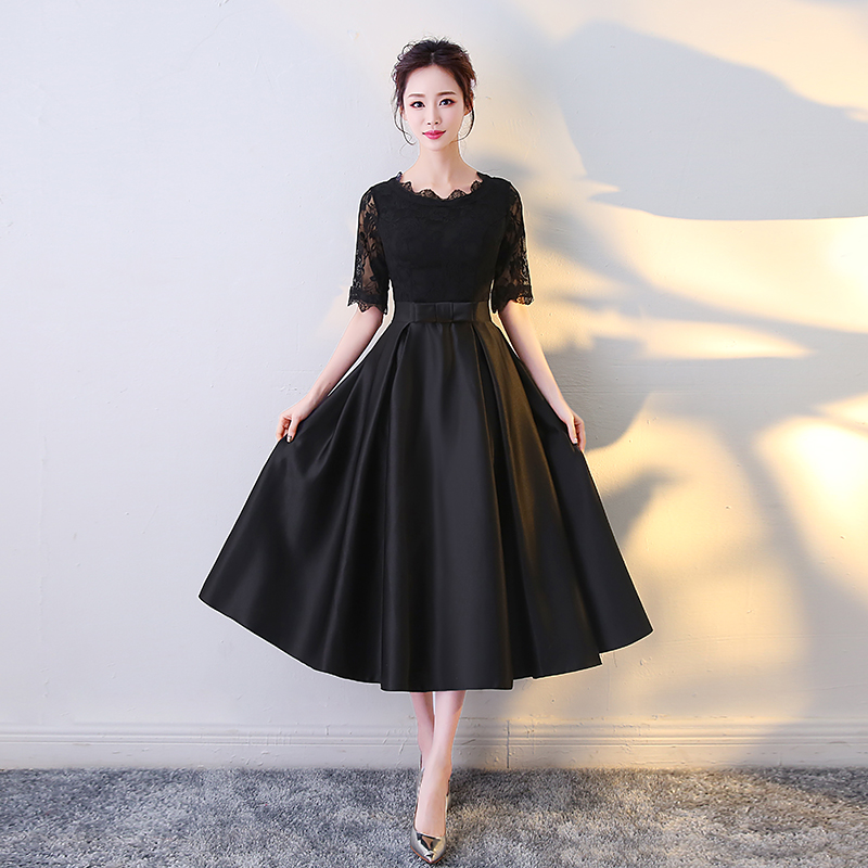 2019 new arrival stock plus size high school 8 grade college graduation dresses beautiful elegant tea length black a line satin