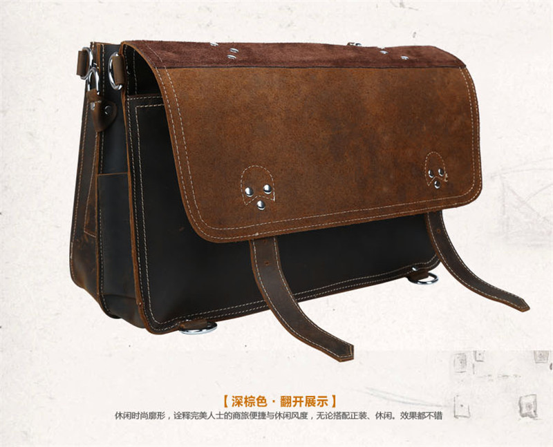 e801cf56ba Vintage Genuine Leather Men s Briefcases Business Bag Leather Messenger Bag  Shoulder Bag Man Laptop Briefcase Backpack Weekend Bag