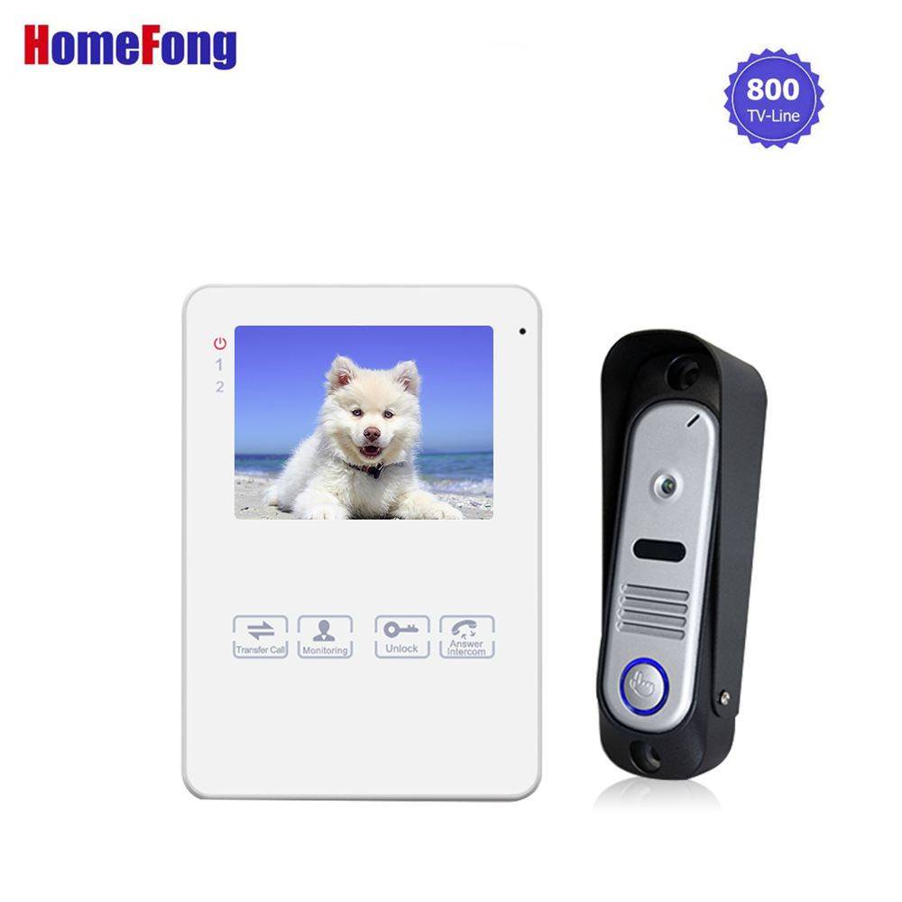 Homefong 4 Inch Video Door Phone Doorbell Camera Wired Intercom System Dual Way Intercom Talk Picture Video Recording Unlock homefong lcd video door phone intercom video doorbell record with camera 2 way talk 1200tvl hd night vision rainproof wholesale