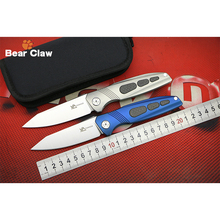BEAR CLAW ELLIPSIS M390 blade Titanium handle Flipper folding knife Outdoor camping hunting pocket knives EDC tools Survival