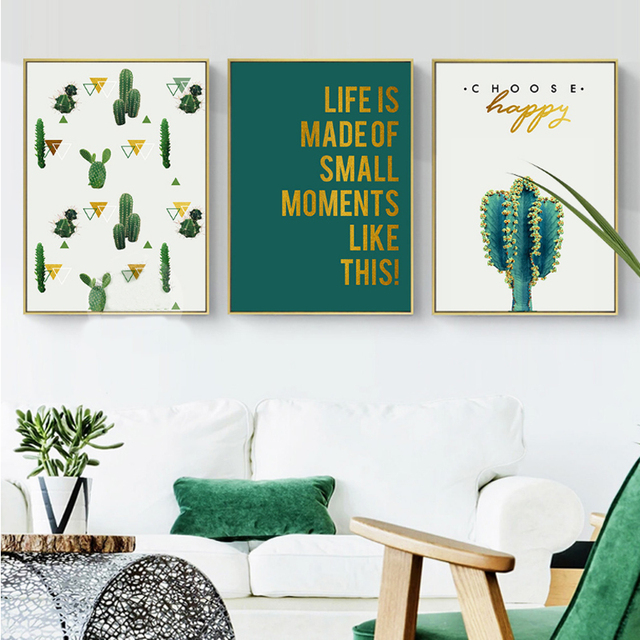 Modern Life Quote Cactus Canvas Paintings Nordic Plants Wall Art Abstract Posters Print Pop Pictures For