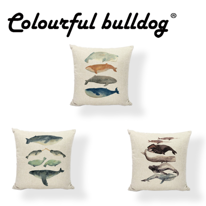 45*45 cm Watercolor Painting Cushion Cover Dolphin Whale Square Shark Lovely Narwhal Home Couch Car Decorate Throw Pillow Case