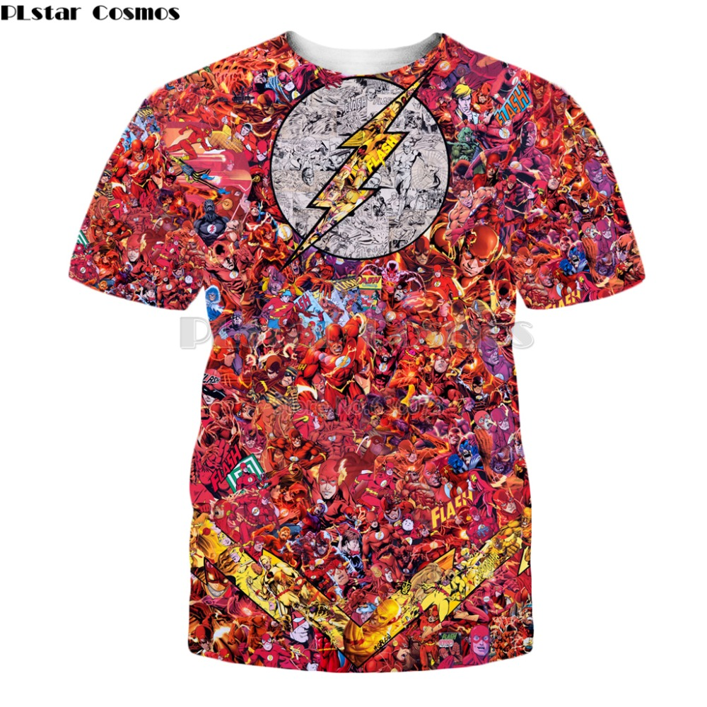 PLstar Cosmos summer Fashion t-shirt DC Comic Superhero Flash 3d Print Unisex T-shirt Harajuku Casual streetwear t shirts SD-98 image