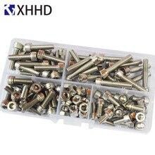 цена на DIN912 Hex Socket Head Cap Screw Metric Thread Hexagon Allen Bike Machine Bolt Nut Set Assortment Kit Box 304 Stainless Stee M5