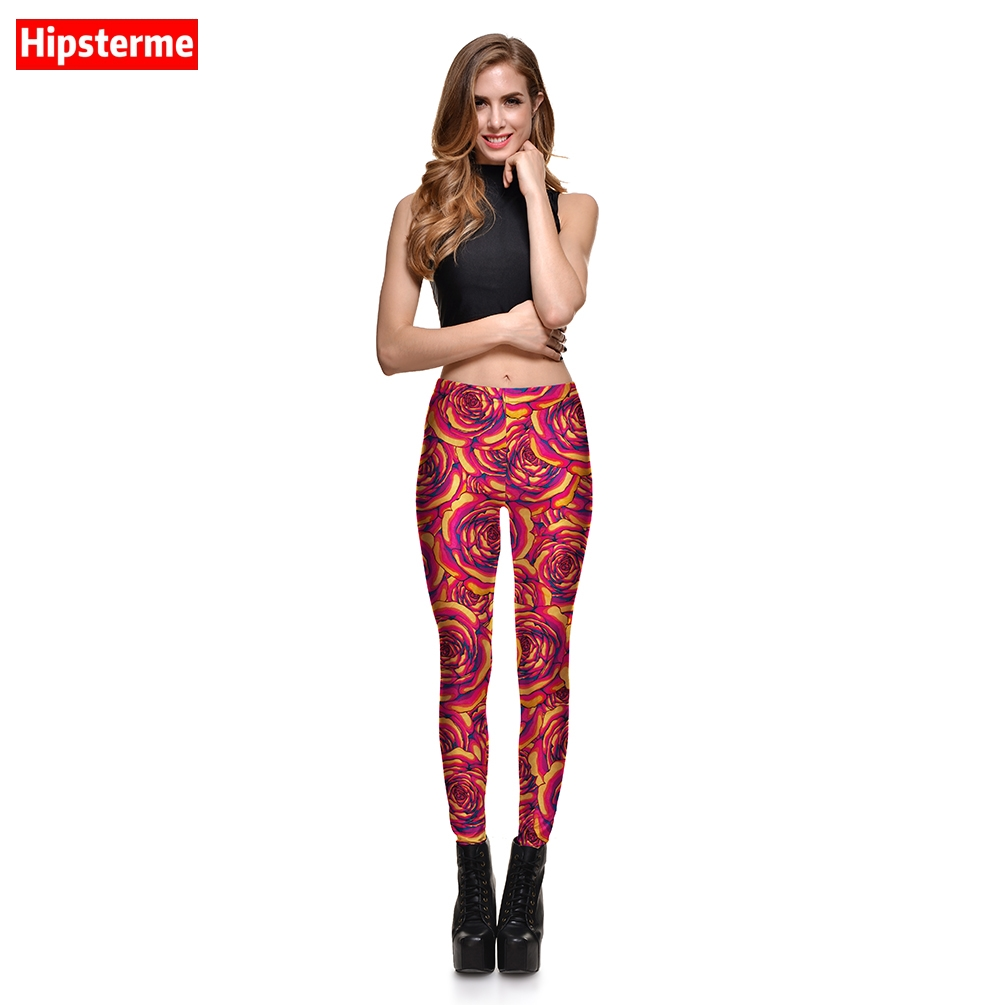 Hipsterme Boutique Store Hipsterme Jeggings Fitness Colorful Flowers 3D Printed Workout Leggings Fashion Slimmin Pants For Women
