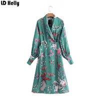 LD Helly Elegant Blue V Neck Colorful Floral Phoenix Print Wear To Work Vestidos Office Business