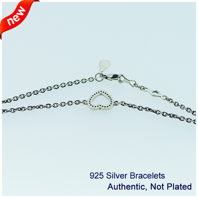 Heart Bracelets with Clear Cubic Zirconia 100% 925 Authentic Sterling Silver Fine Jewelry Free Shipping