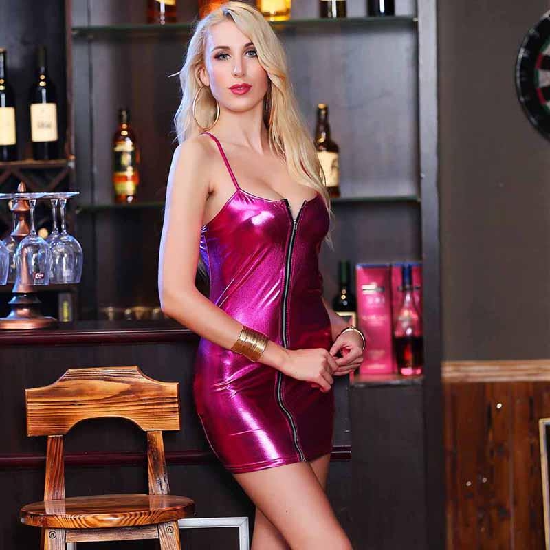 HTB1 8.WayHrK1Rjy0Flq6AsaFXak 4XL Ladies Sexy Club Party Sheath Dress Sleeveless Spaghetti Strap Low-cut Dress Women's Clothing Front Zipper Mini Vestidos