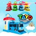 Горячие Продаж 4 шт./компл. Корейский Милые Мультфильмы гараж тайо маленький автобус модель мини тайо пластиковые Дети малолитражного автомобиля на Рождество подарок