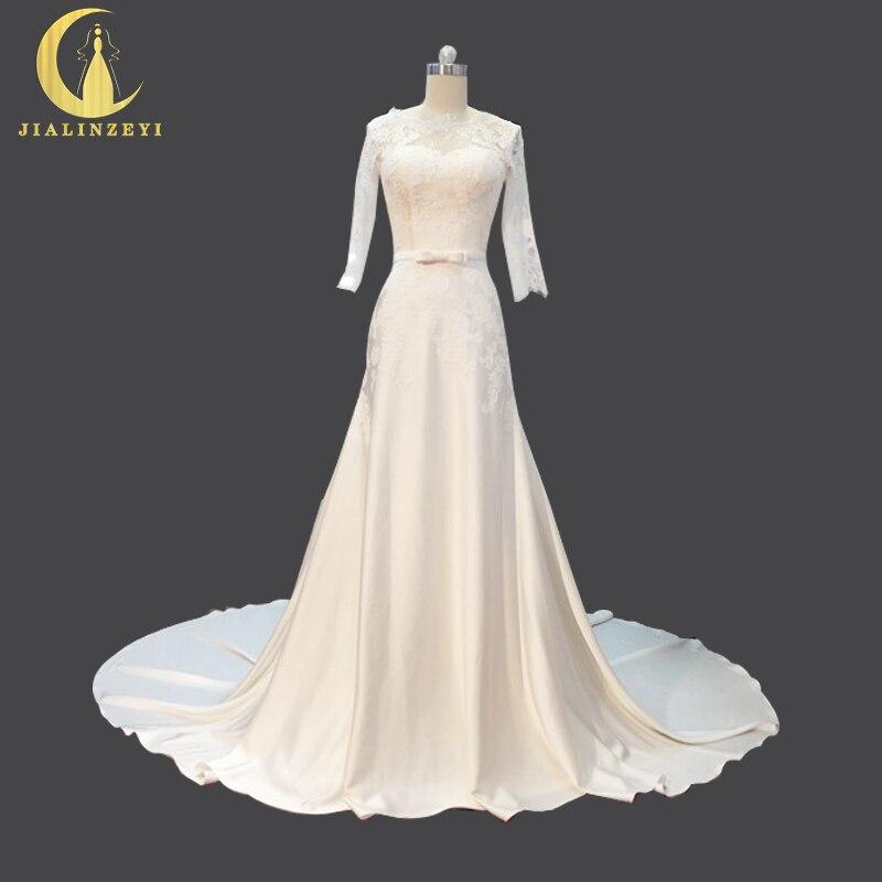Satin Mermaid Wedding Gown: Rhine Real Sample Sexy Half Sleeves Lace Satin Mermaid