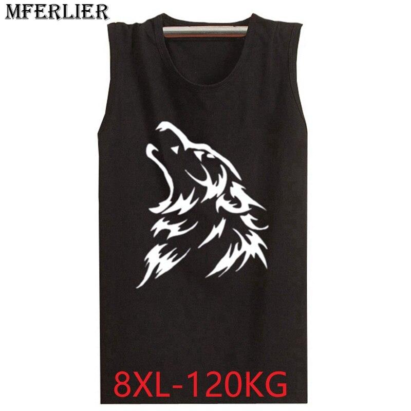 MFERLIER Men Fitness plus size 5XL 6XL   tank     tops   8XL 7XL wolf cheap sleeveless loose cotton basket ball   tops   tees blue cool