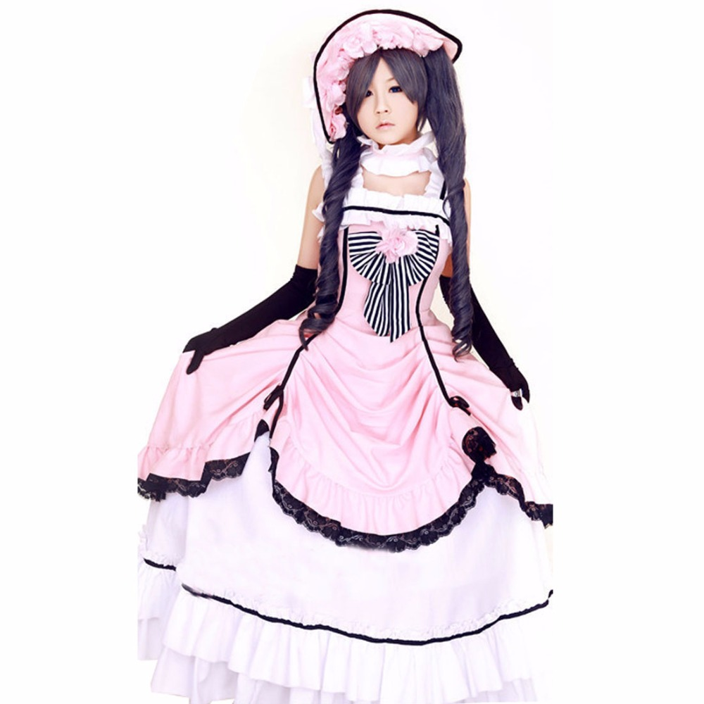 2018 acción actual! Negro Butler Ciel phantomhive Rosa vestido de ...