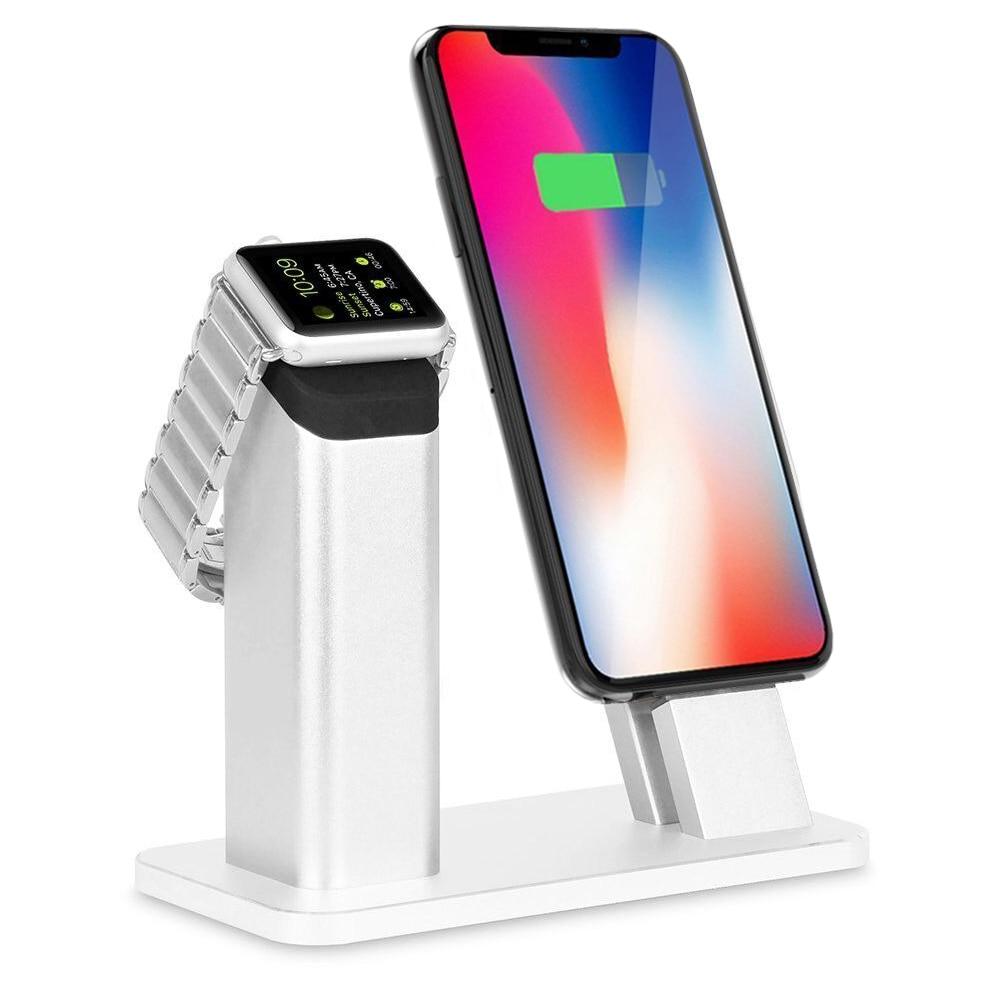 Support de support en Aluminium de mode Base de montage de Station de chargeur de Dock pour Apple Watch iPhone X/8/7/7 plus/SE/5 s/6 S/PLUS-argent